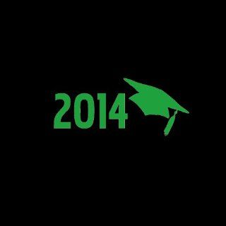 "2014 Graduation Cap Car Window Decal Sticker 5"" Green Automotive"