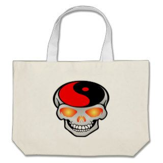 Yin Yang Skull Tattoo Tote Bag