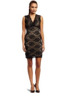 Eight Sixty Womens Solid Stretch Lace Surplus Dress, Black/Tan, X Small