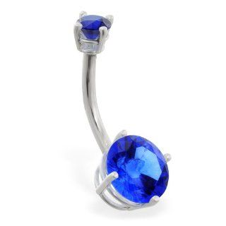 14K White Gold Double Jeweled Sapphire Belly Ring Belly Button Piercing Rings Jewelry