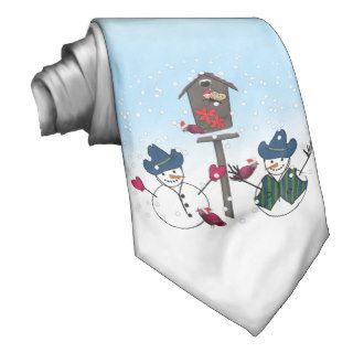 Christmas Snowmen with Cowboy Hats Neck Ties