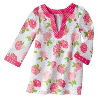 Circo Infant Toddler Girls Long Sleeve Floral Cover Up   White/Coral 3T