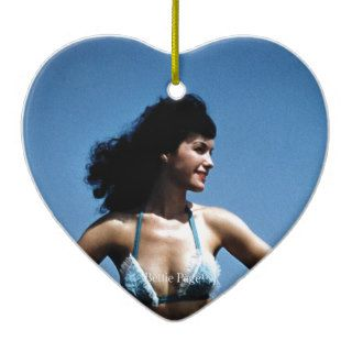 Bettie Page in a Blue Bikini Standing Beside Water Christmas Tree Ornament