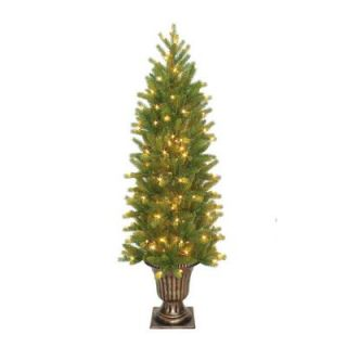 National Tree Company 5 ft. Feel Real Artificial Grande Fir Christmas Entrance Tree with Clear Lights PEGF4 306 50