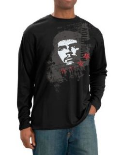 The Che Guevara Store Men's Long Sleeve Black   Revolution Distress Novelty T Shirts Clothing