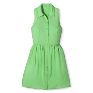 Merona Womens Woven Sleeveless Shirt Dress   Pristine Green   8