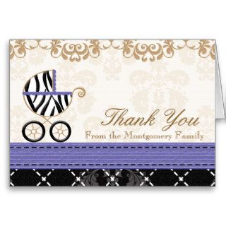 Purple Zebra Baby Carriage Shower Thank You Greeting Cards
