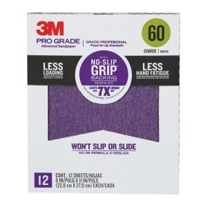 3M 9 in. x 11 in. Pro Grade 60 Grit Coarse No Slip Grip Advanced Sandpaper (12 pack) 27060CP P G