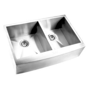 Yosemite Home Decor Apron Front Stainless Steel 33x22x10 0 Hole 50/50 Double Bowl Kitchen Sink in Satin MAGC3320DAP