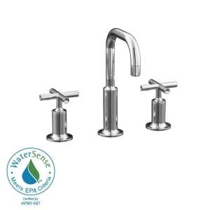 KOHLER Purist 8 in. Widespread 2 Handle Bathroom Faucet in Polished Chrome with Low Gooseneck Spout K 14406 3 CP