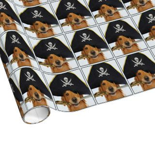 Golden Retriever Halloween Pirate Gift Wrap Paper