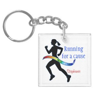 Running for a Cause Autism Puzzle Ribbon Acrylic Keychain