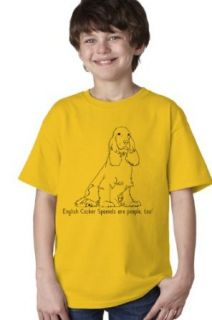 ENGLISH COCKER SPANIELS ARE PEOPLE TOO Yellow Youth Unisex T shirt / Dog Owner & Lover Tee Novelty T Shirts Clothing
