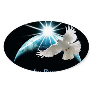 Peace on Earth Dove Holiday Christmas Oval Sticker