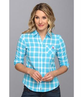 U.S. Polo Assn Long Sleeve Cotton Poplin Plaid Shirt Womens Long Sleeve Button Up (Blue)