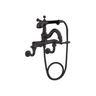 KOHLER Finial Lever 2 Handle Claw Foot Tub Faucet with Handshower in Oil Rubbed Bronze K 331 4M 2BZ