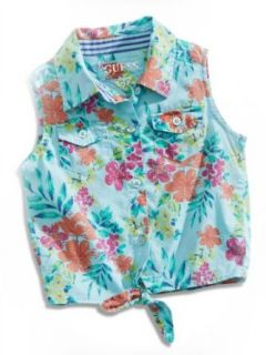 GUESS Kids Girls Little Girl Floral Print Tie Front Top Clothing