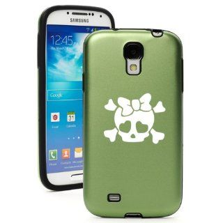 Green Samsung Galaxy S4 S IV i9500 Aluminum & Silicone Hard Back Case Cover KA365 Heart Skull Bow Cell Phones & Accessories