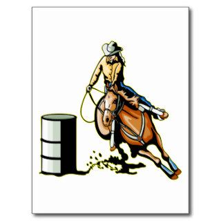 Horse Barrel Racing Post Cards