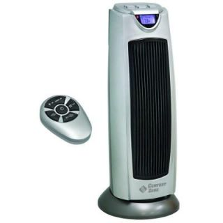 Comfort Zone 9 in. 1500 Watt Digital Ceramic Oscillating Electric Tower Heater with Fan and Remote DISCONTINUED CZ499R