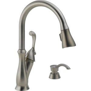 Delta Arabella Single Handle Pull Down Sprayer Kitchen Faucet in Stainless with Soap Dispenser 19950 SSSD DST