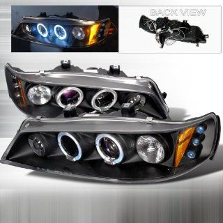 94 95 96 97 Honda Accord Halo Projector Headlights   Black (Pair) Automotive