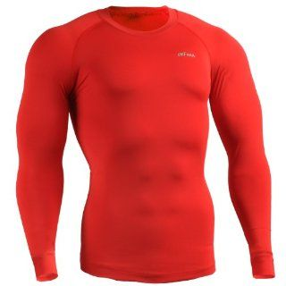emFraa Men Women Skin Tight Base layer T Shirt Running Top Red Long sleeve S ~ XL Sports & Outdoors