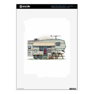 Cute RV Vintage Fifth Wheel Camper Travel Trailer Decals For iPad 3