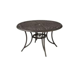 Hampton Bay Santa Maria 48 in. Round Cast Aluminum Patio Dining Table ALQ61715K02