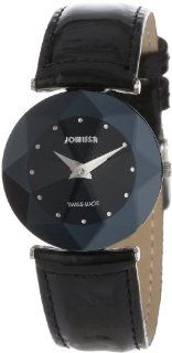 Jowissa Women's J5.181.M Facet Stainless Steel Black Genuine Leather Watch Watches