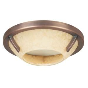 Hampton Bay 4 in. Recessed Brushed Copper Bronze Deco Trim with Speckled Amber Glass HBR452BCB