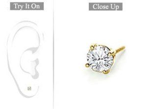 Fine Jewelry Vault UBMER14YG4RD015D Mens 14K Yellow Gold  Round Diamond Stud Earring   0.15 CT. TW. Fine Jewelry Vault