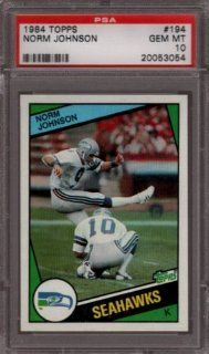 1984 TOPPS #194 NORM JOHNSON SEAHAWKS PSA 10 F1328177 Sports Collectibles