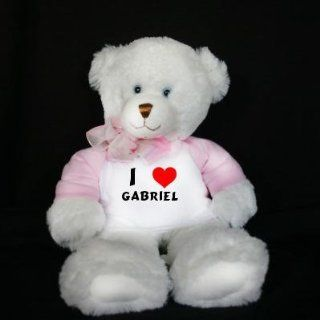 Plush White Teddy Bear (Dena) toy with I Love Gabriel (first name/surname/nickname) Toys & Games