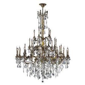 Worldwide Lighting Windsor Collection 45 Light Crystal and Antique Bronze Chandelier W83312B54 CL