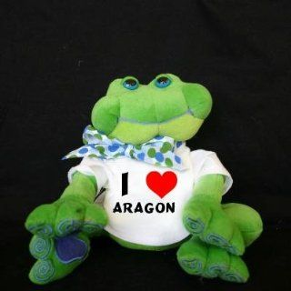Plush Frog (Thad Polz) toy with I Love Aragon (first name/surname/nickname) Toys & Games