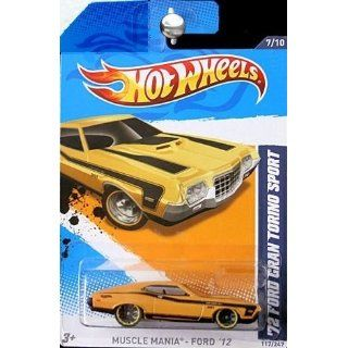 Hot Wheels Yellow Black Trim 72 1972 Ford Gran Torino Sport Muscle Mania Ford 2012 7 of 10 117/247 Toys & Games
