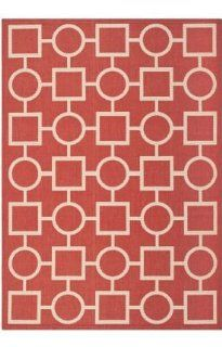 Safavieh CY6925 248 Courtyard Collection Indoor/Outdoor Area Rug, 4 Feet by 5 Feet 7 Inch, Red and Bone