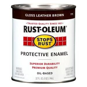 Rust Oleum Stops Rust 1 qt. Gloss Leather Brown Protective Enamel Paint (2 Pack) 7775502