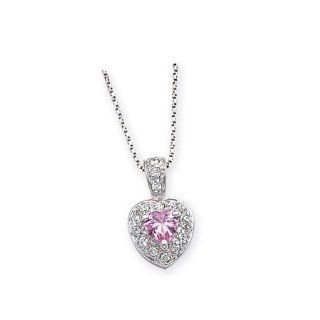 925 Sterling Silver White Pink CZ Heart Charm Necklace Pendant Necklaces Jewelry