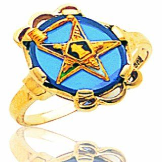 Men's 14K Yellow Gold Blue Stone Masonic Ring Signet Rings Jewelry