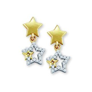 Triple Star Earrings Two Tone White and Yellow Gold Set with 36 Genuine Diamonds Jewelry