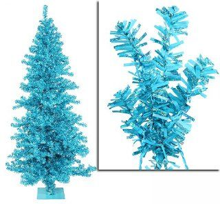 6' Pre Lit Sky Blue Wide Cut Tinsel Artificial Christmas Tree   Blue Lights