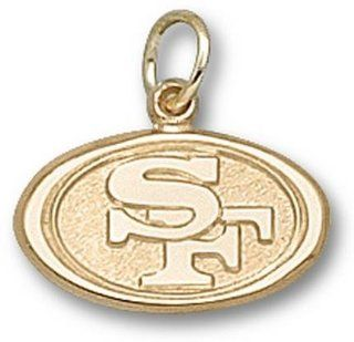 NFL San Francisco 49ers Oval Logo Pendant 3/8 Inch   14K White Gold Jewelry