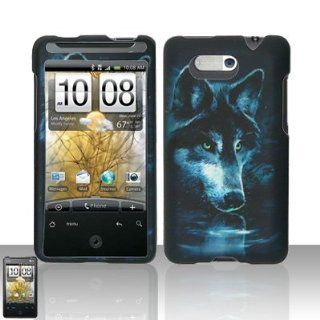 Blue Moon Wolf Design Rubberized Snap on Hard Cover Protector Faceplate Cell Phone Case for AT&T HTC Aria + LCD Screen Guard Film + Free iTuffy Flannel Bag Cell Phones & Accessories