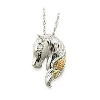 Beautiful Sterling Silver Horse Head with 12K Red Rose and 12K Green Leaves Pendant Jewelry