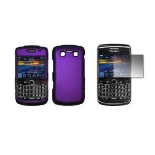 Purple Rubberized Snap On Cover Hard Case Cell Phone Protector and Crystal Clear LCD Screen Protector for Blackberry Bold 9700 Cell Phones & Accessories