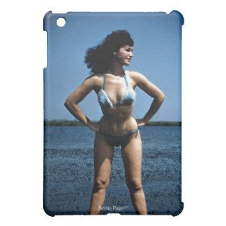 Bettie Page in a Blue Bikini Standing Beside Water Cover For The iPad Mini
