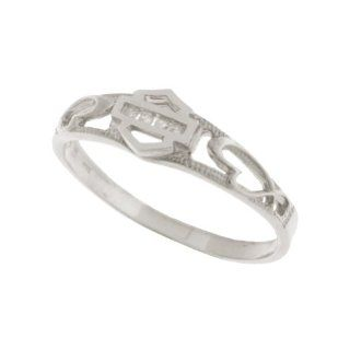 Harley Davidson� Stamper� Women's 10K White Gold Diamond Ring (.04 cttw), Sculpted Hearts. WR7383D Stamper� Jewelry