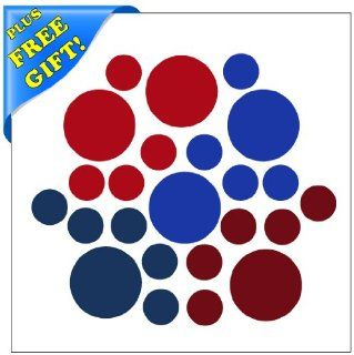 Set of 100 Red / Blue / Burgundy / Navy Blue Circles Polka Dots Vinyl Wall Decals Stickers + with Free Sticky Notepad [Peel and Stick Graphic Mural Decal Circle Dot Kit Appliques]   Wall Decor Stickers